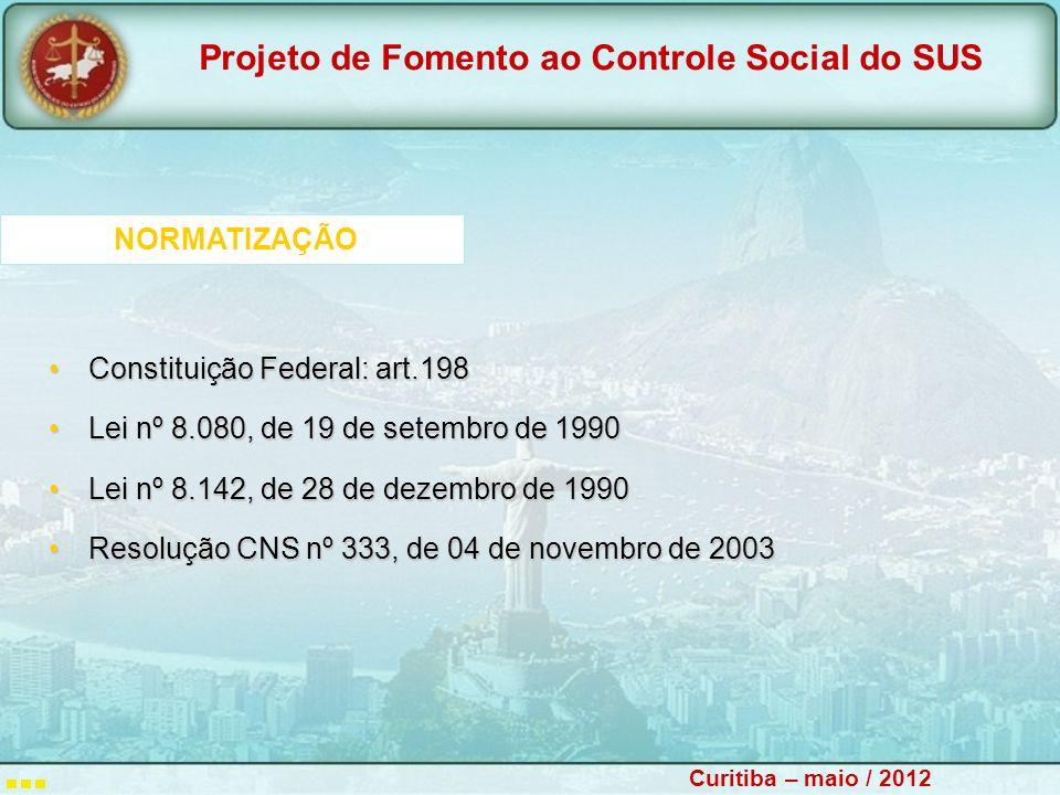 NORMATIZAÇÃO Constituição Federal: art.198. Lei nº 8.080, de 19 de setembro de 1990. Lei nº 8.142, de 28 de dezembro de 1990.