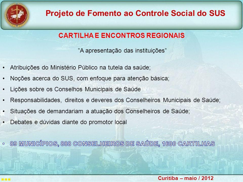 CARTILHA E ENCONTROS REGIONAIS