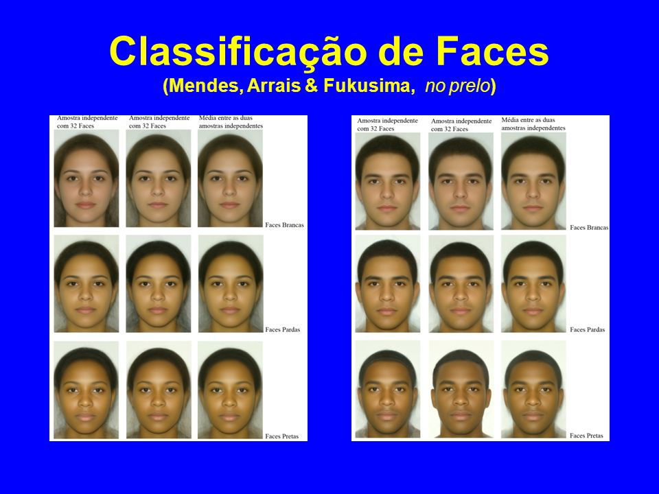 Classificação de Faces (Mendes, Arrais & Fukusima, no prelo)
