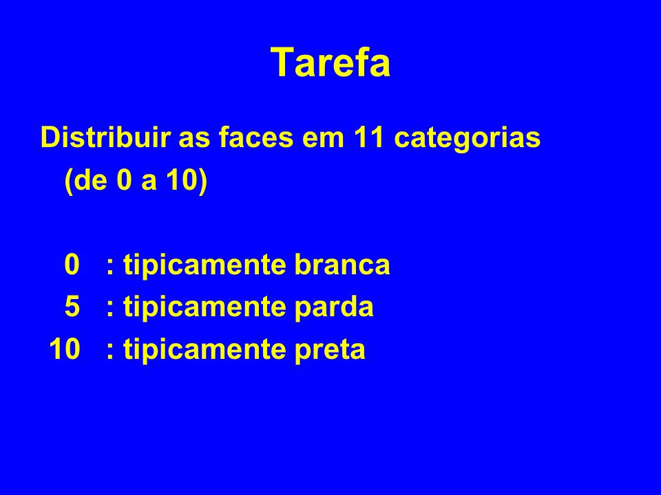 Tarefa Distribuir as faces em 11 categorias (de 0 a 10)