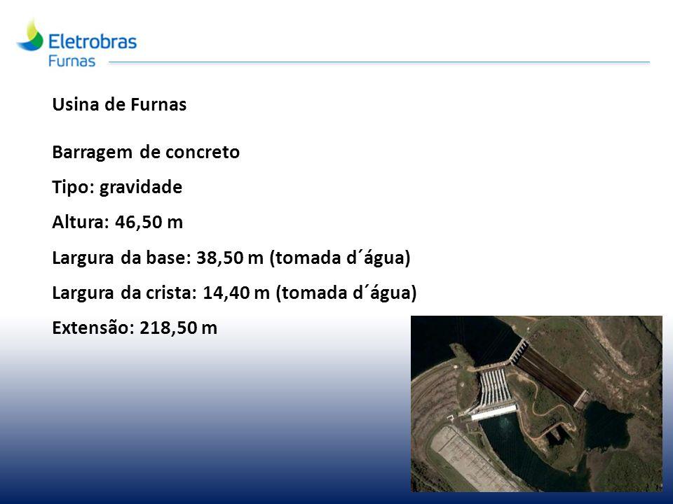 Usina de Furnas Barragem de concreto. Tipo: gravidade. Altura: 46,50 m. Largura da base: 38,50 m (tomada d´água)