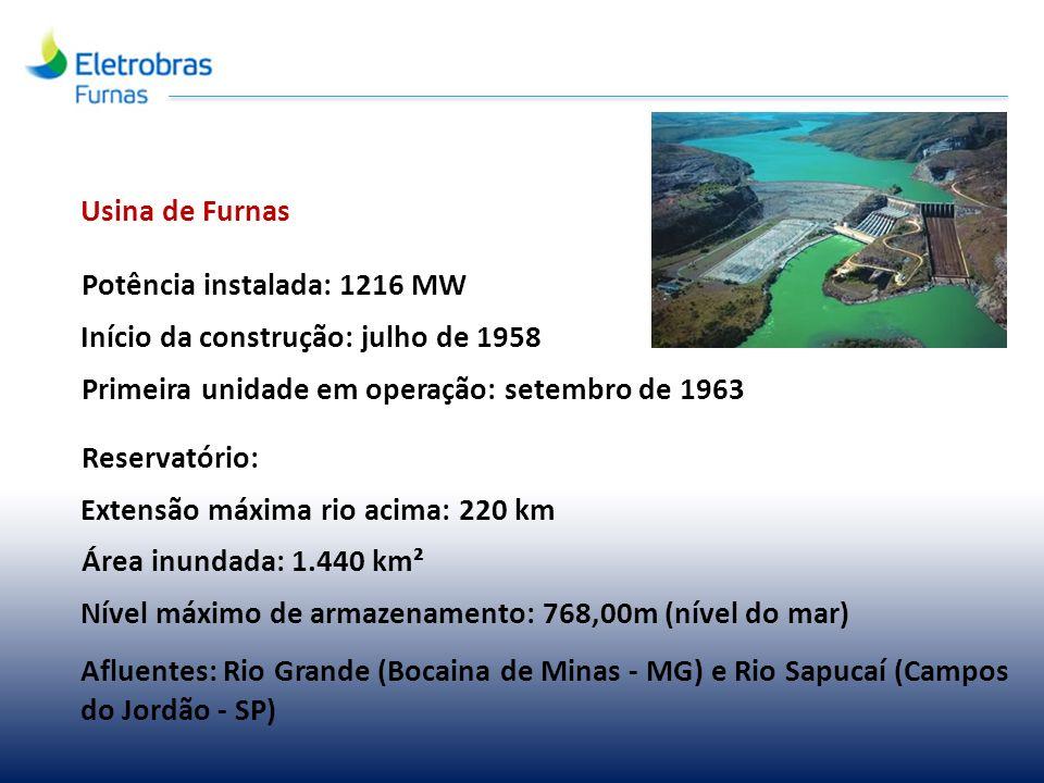 Usina de Furnas Potência instalada: 1216 MW. Início da construção: julho de 1958. Primeira unidade em operação: setembro de 1963.