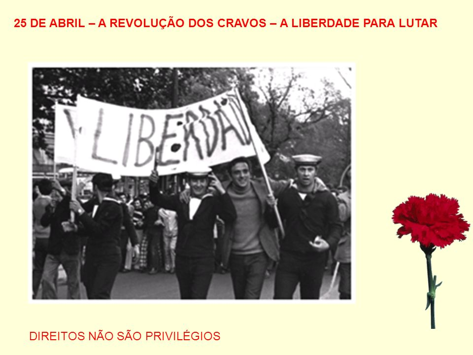 25 DE ABRIL – A REVOLUÇÃO DOS CRAVOS – A LIBERDADE PARA LUTAR