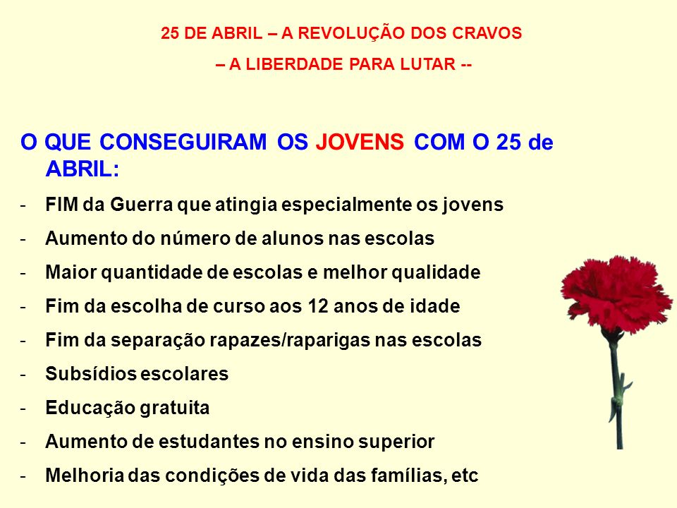 25 DE ABRIL – A REVOLUÇÃO DOS CRAVOS – A LIBERDADE PARA LUTAR --