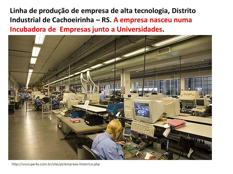 Linha de produção de empresa de alta tecnologia, Distrito Industrial de Cachoeirinha – RS. A empresa nasceu numa Incubadora de Empresas junto a Universidades.