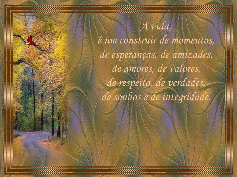 A vida, é um construir de momentos, de esperanças, de amizades, de amores, de valores, de respeito, de verdades, de sonhos e de integridade.