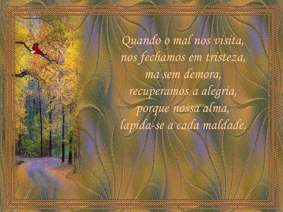 Quando o mal nos visita, nos fechamos em tristeza, ma sem demora, recuperamos a alegria, porque nossa alma, lapida-se a cada maldade.