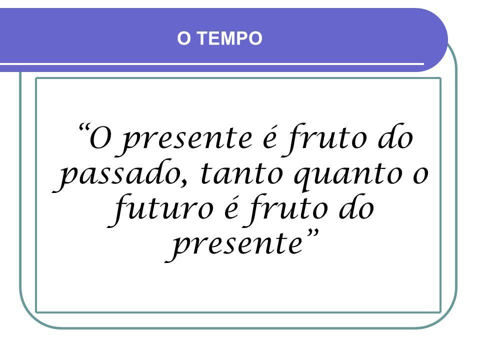O TEMPO O presente é fruto do passado, tanto quanto o futuro é fruto do presente