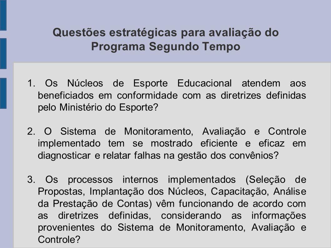 Questões estratégicas para avaliação do Programa Segundo Tempo
