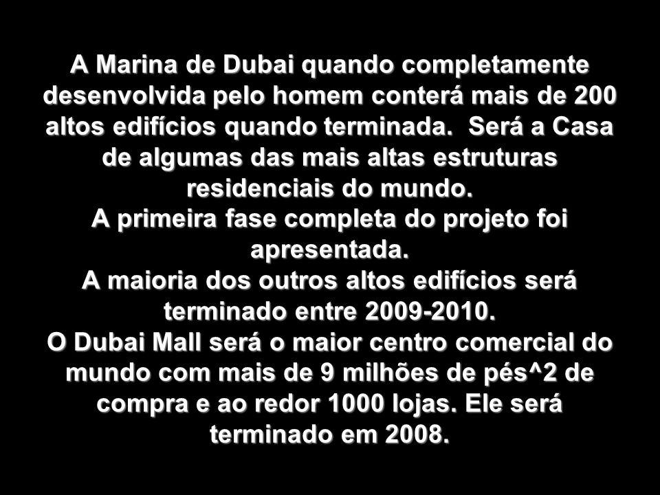 A Marina de Dubai quando completamente desenvolvida pelo homem conterá mais de 200 altos edifícios quando terminada.