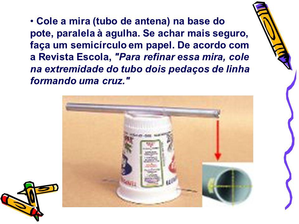 Cole a mira (tubo de antena) na base do pote, paralela à agulha