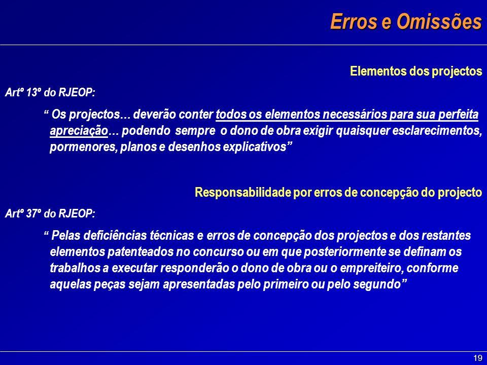 Erros e Omissões Elementos dos projectos