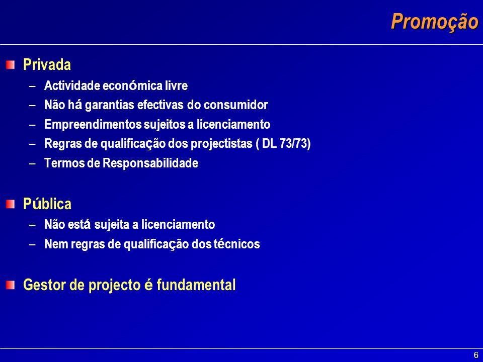 Promoção Privada Pública Gestor de projecto é fundamental