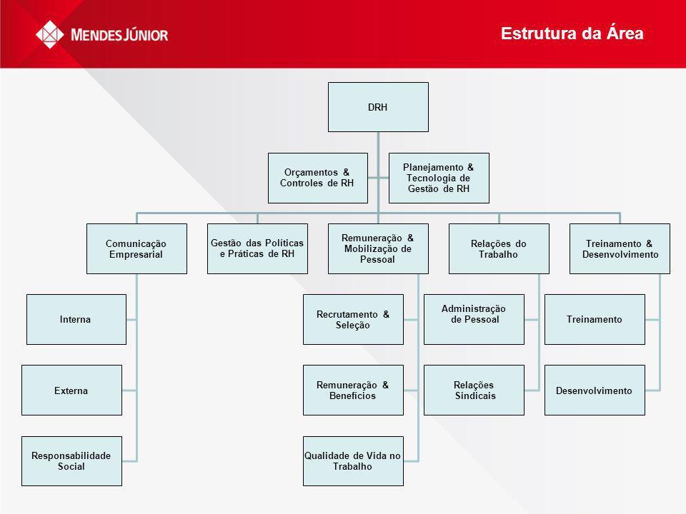 Estrutura da Área DRH Orçamentos & Controles de RH