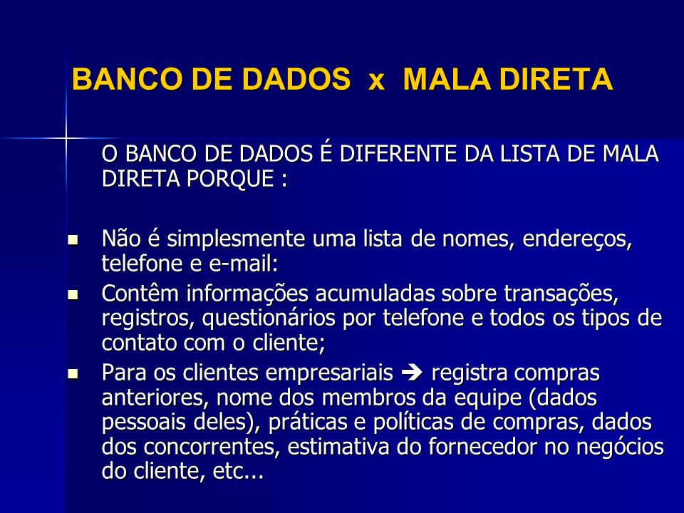BANCO DE DADOS x MALA DIRETA