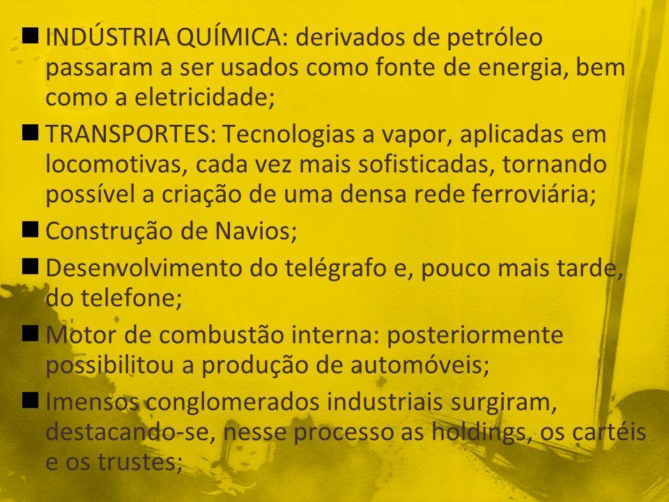 INDÚSTRIA QUÍMICA: derivados de petróleo passaram a ser usados como fonte de energia, bem como a eletricidade;