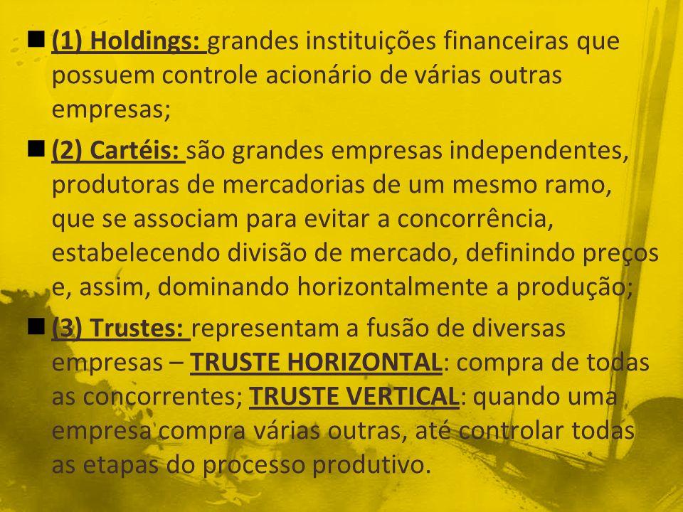 (1) Holdings: grandes instituições financeiras que possuem controle acionário de várias outras empresas;