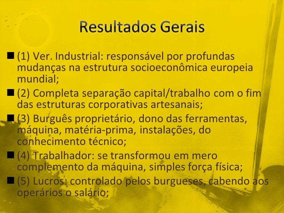 Resultados Gerais (1) Ver. Industrial: responsável por profundas mudanças na estrutura socioeconômica europeia mundial;