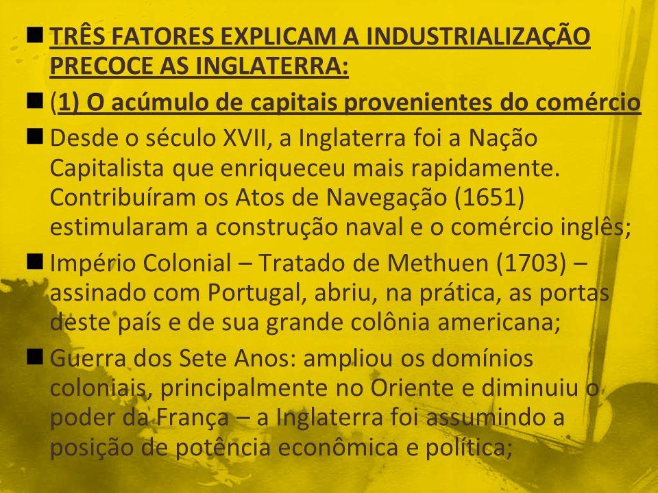 TRÊS FATORES EXPLICAM A INDUSTRIALIZAÇÃO PRECOCE AS INGLATERRA: