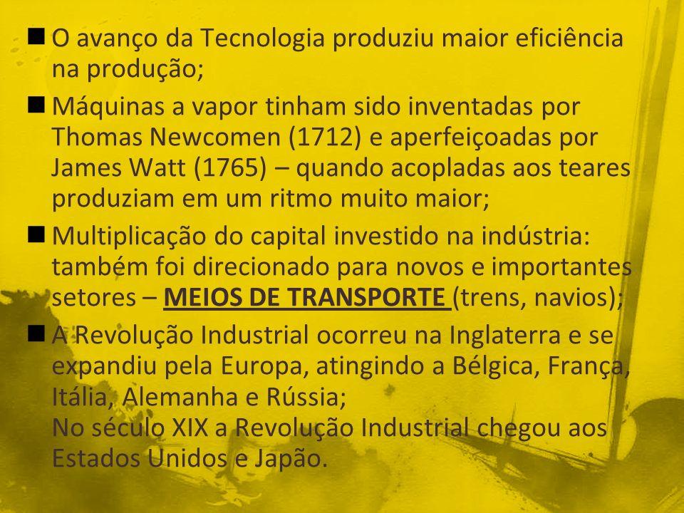 O avanço da Tecnologia produziu maior eficiência na produção;