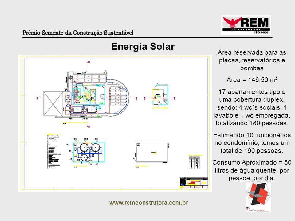 Energia Solar Área reservada para as placas, reservatórios e bombas