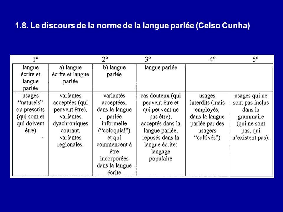 1.8. Le discours de la norme de la langue parlée (Celso Cunha)