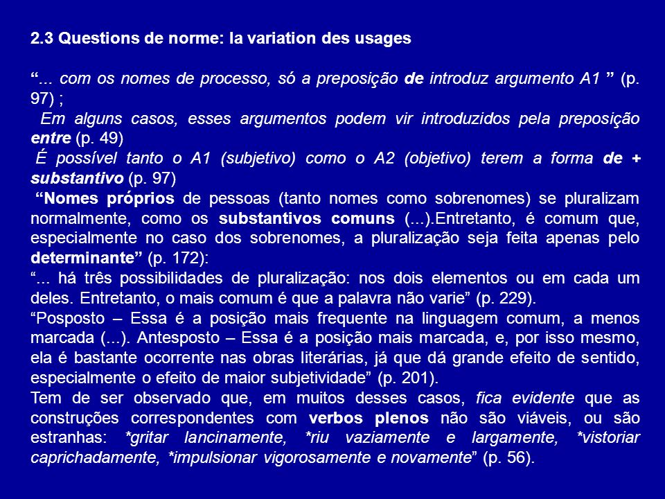 2.3 Questions de norme: la variation des usages