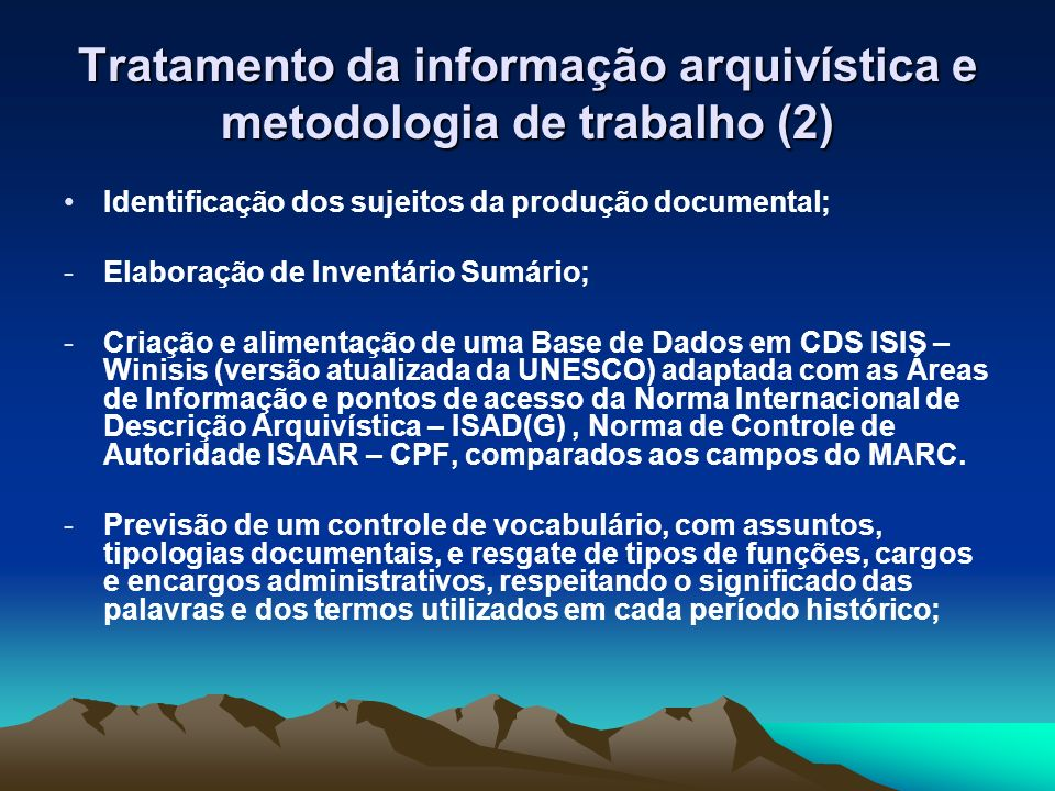 Tratamento da informação arquivística e metodologia de trabalho (2)