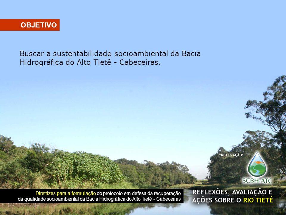 OBJETIVO Buscar a sustentabilidade socioambiental da Bacia Hidrográfica do Alto Tietê - Cabeceiras.