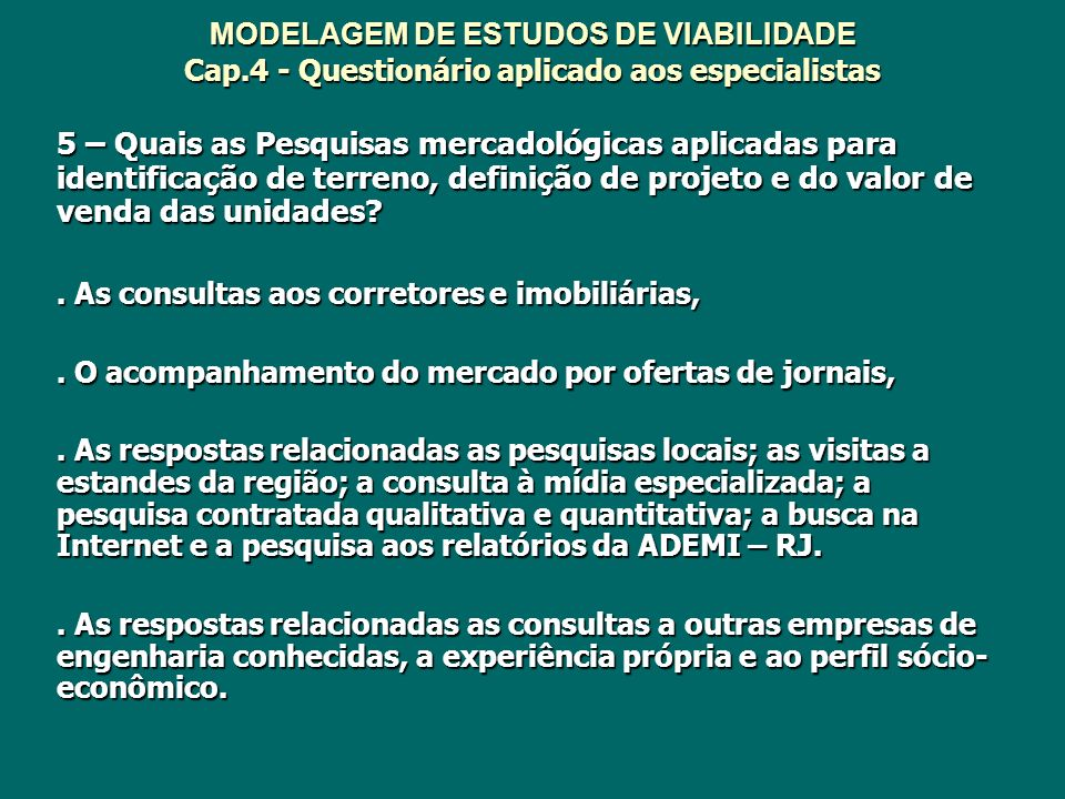 MODELAGEM DE ESTUDOS DE VIABILIDADE Cap