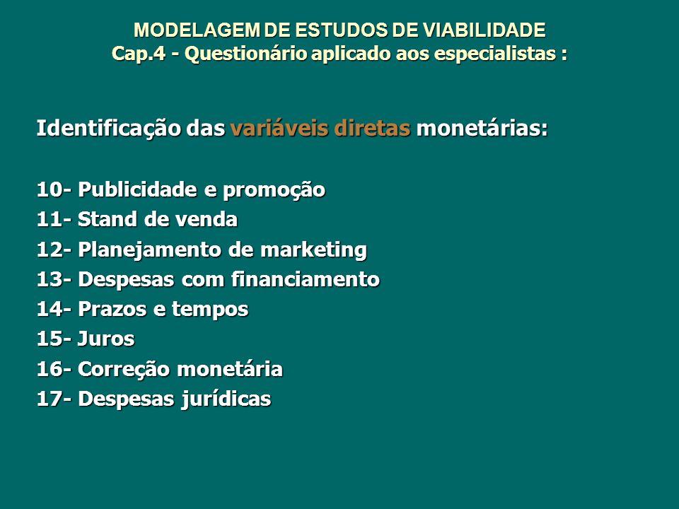 Identificação das variáveis diretas monetárias: