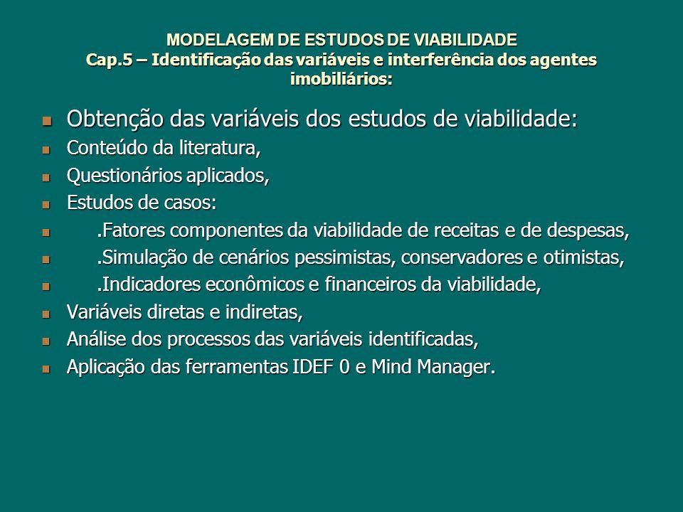 Obtenção das variáveis dos estudos de viabilidade: