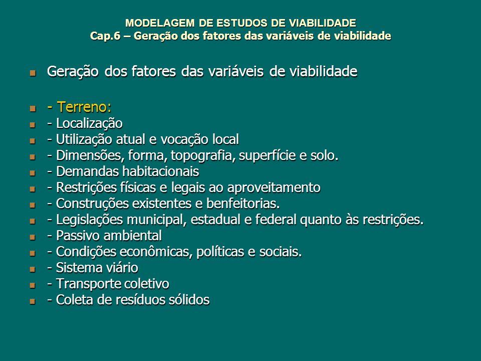 Geração dos fatores das variáveis de viabilidade - Terreno: