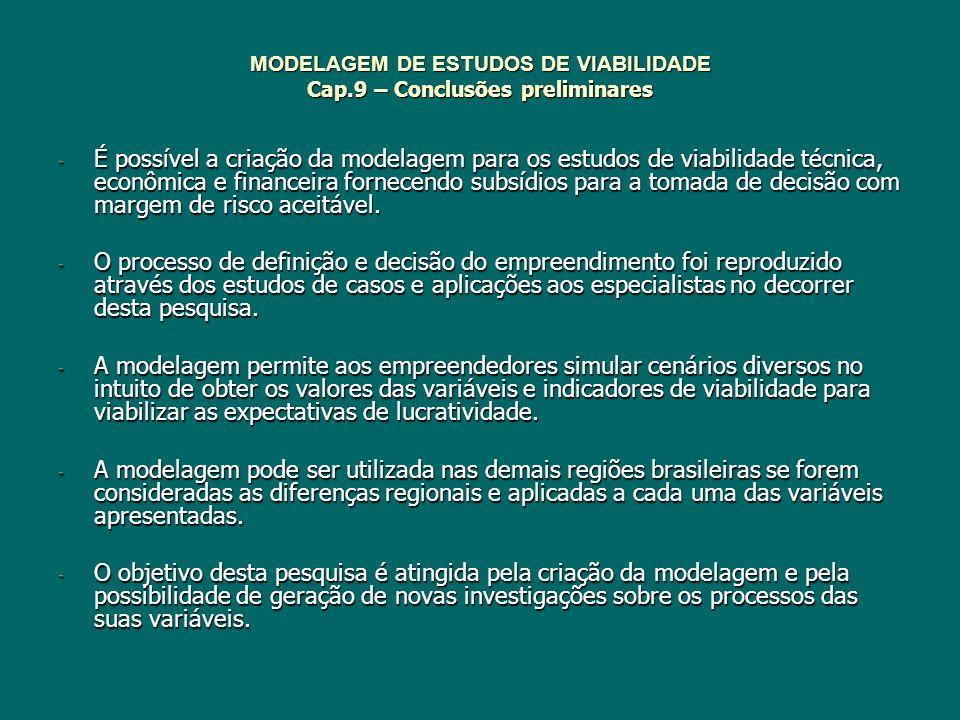 MODELAGEM DE ESTUDOS DE VIABILIDADE Cap.9 – Conclusões preliminares