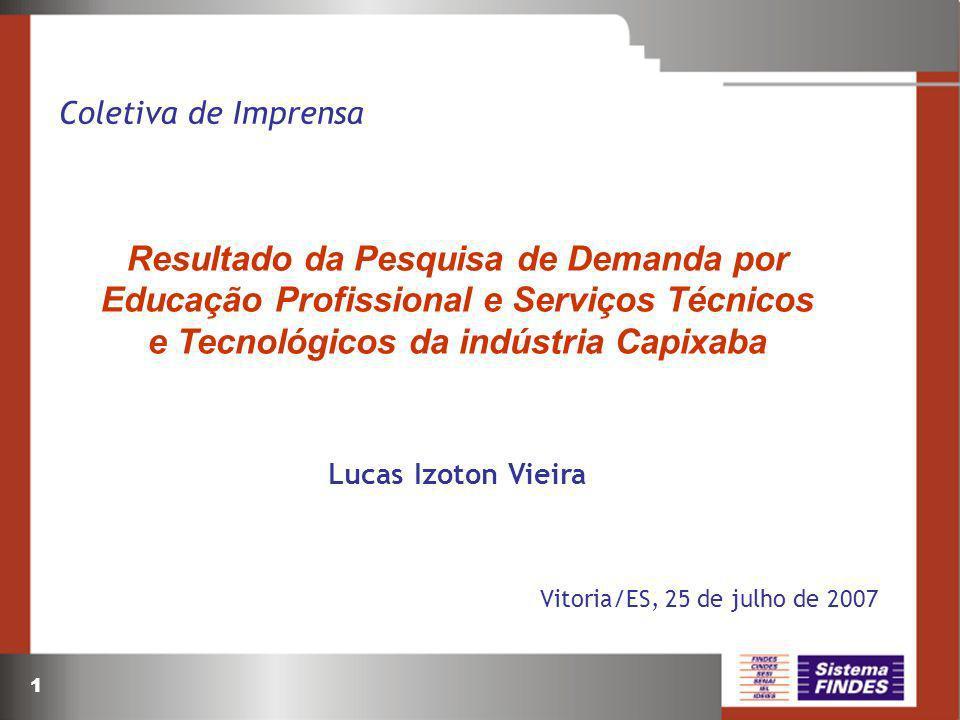 Coletiva de Imprensa Resultado da Pesquisa de Demanda por Educação Profissional e Serviços Técnicos e Tecnológicos da indústria Capixaba.