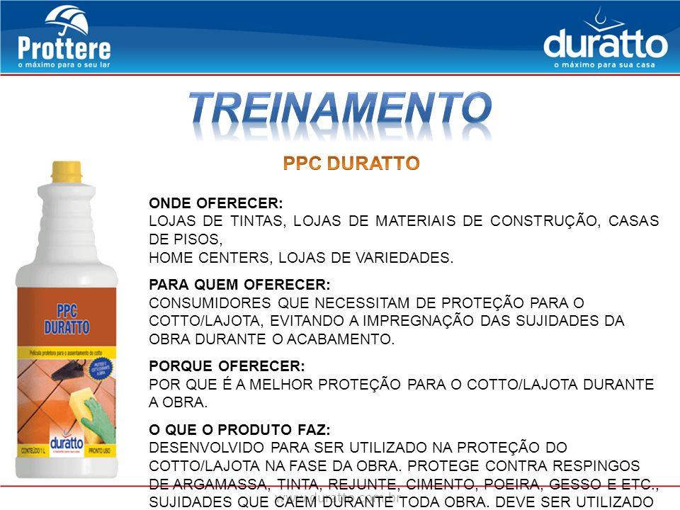TREINAMENTO PPC DURATTO ONDE OFERECER: