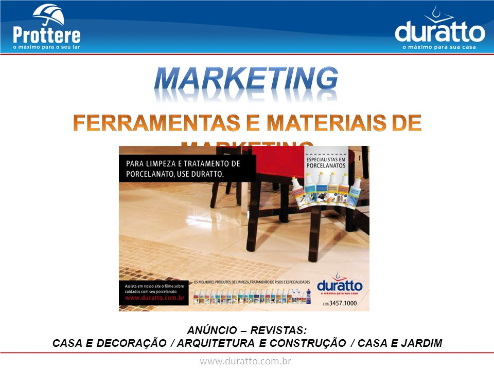 MARKETING FERRAMENTAS E MATERIAIS DE MARKETING ANÚNCIO – REVISTAS: