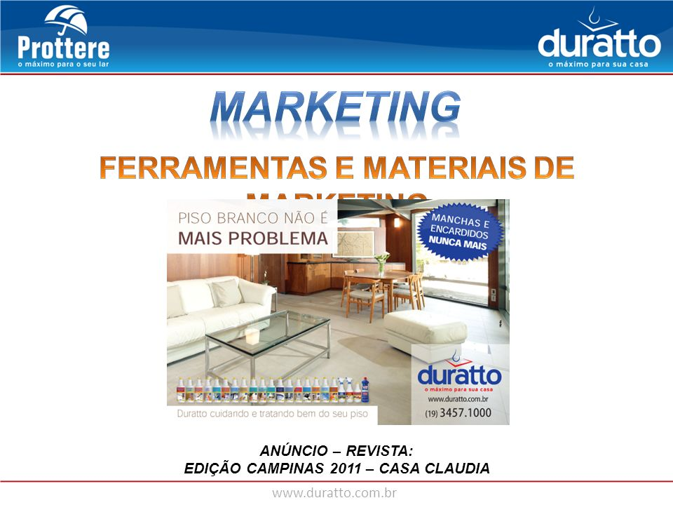 MARKETING FERRAMENTAS E MATERIAIS DE MARKETING ANÚNCIO – REVISTA: