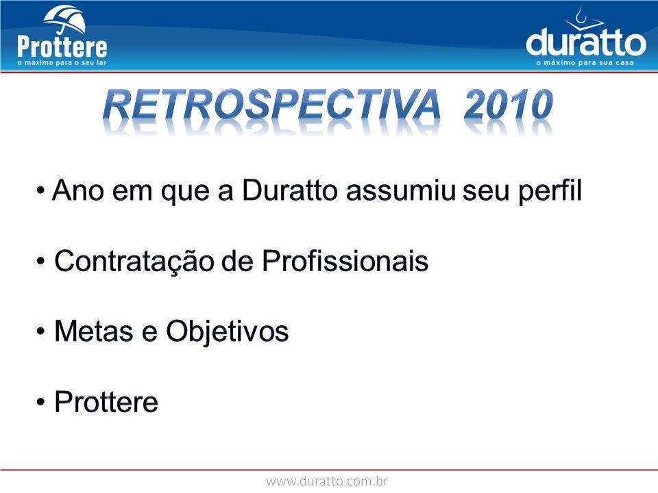 RETROSPECTIVA 2010 Ano em que a Duratto assumiu seu perfil