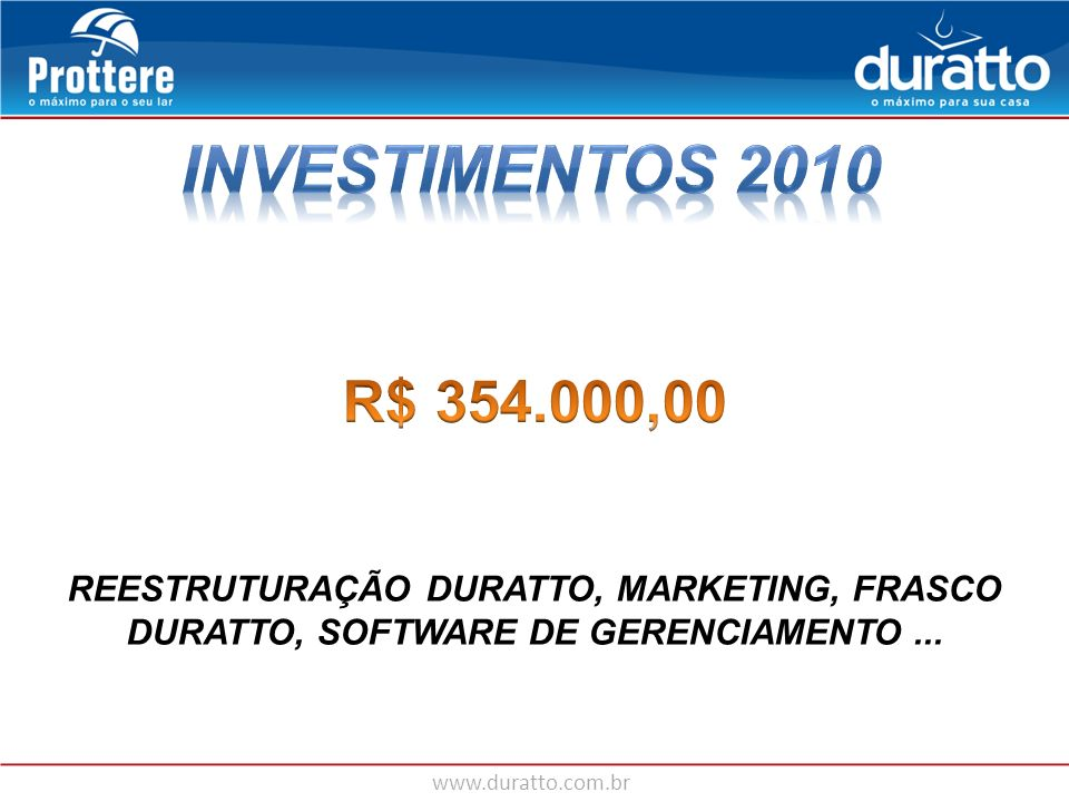 INVESTIMENTOS 2010 R$ 354.000,00.