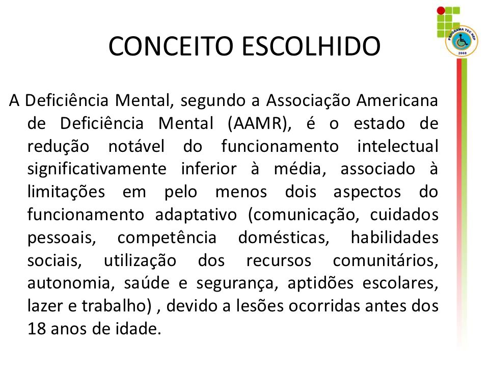 CONCEITO ESCOLHIDO