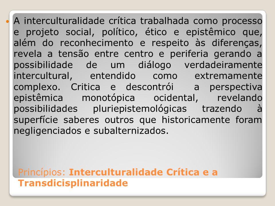 Princípios: Interculturalidade Crítica e a Transdicisplinaridade