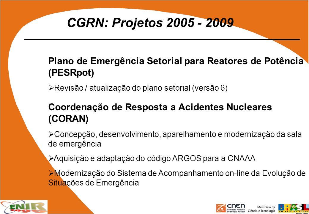 CGRN: Projetos 2005 - 2009 Plano de Emergência Setorial para Reatores de Potência (PESRpot) Revisão / atualização do plano setorial (versão 6)