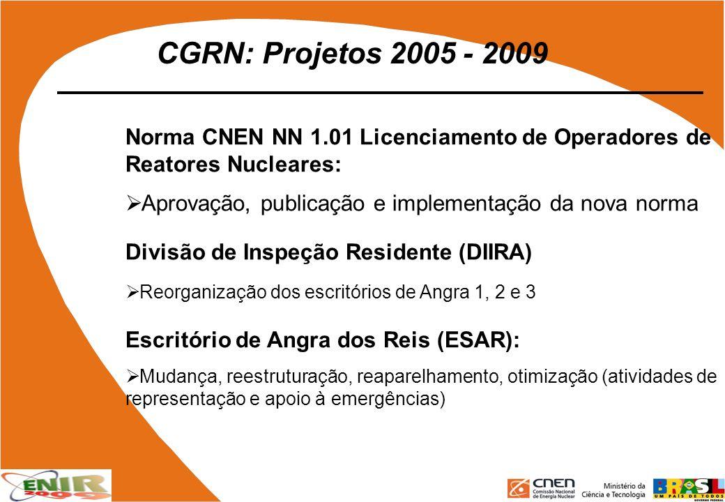 CGRN: Projetos 2005 - 2009 Norma CNEN NN 1.01 Licenciamento de Operadores de Reatores Nucleares: Aprovação, publicação e implementação da nova norma.
