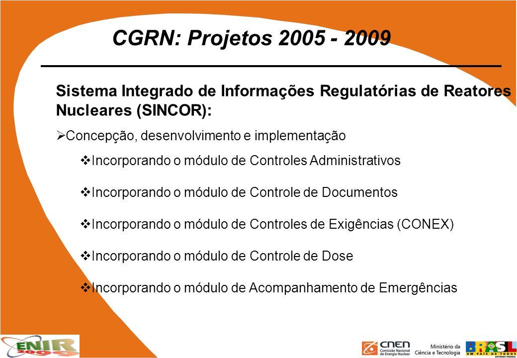 CGRN: Projetos 2005 - 2009 Sistema Integrado de Informações Regulatórias de Reatores Nucleares (SINCOR):