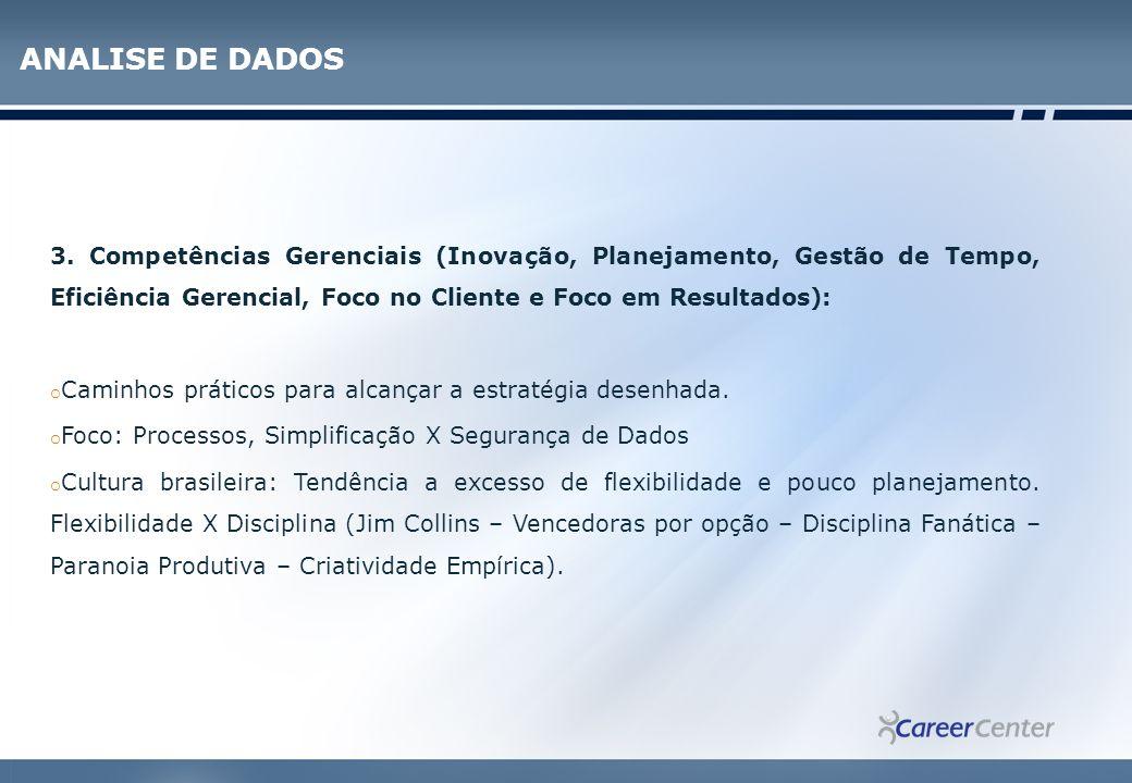 ANALISE DE DADOS 3. Competências Gerenciais (Inovação, Planejamento, Gestão de Tempo, Eficiência Gerencial, Foco no Cliente e Foco em Resultados):