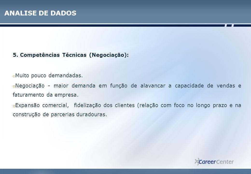 ANALISE DE DADOS 5. Competências Técnicas (Negociação):