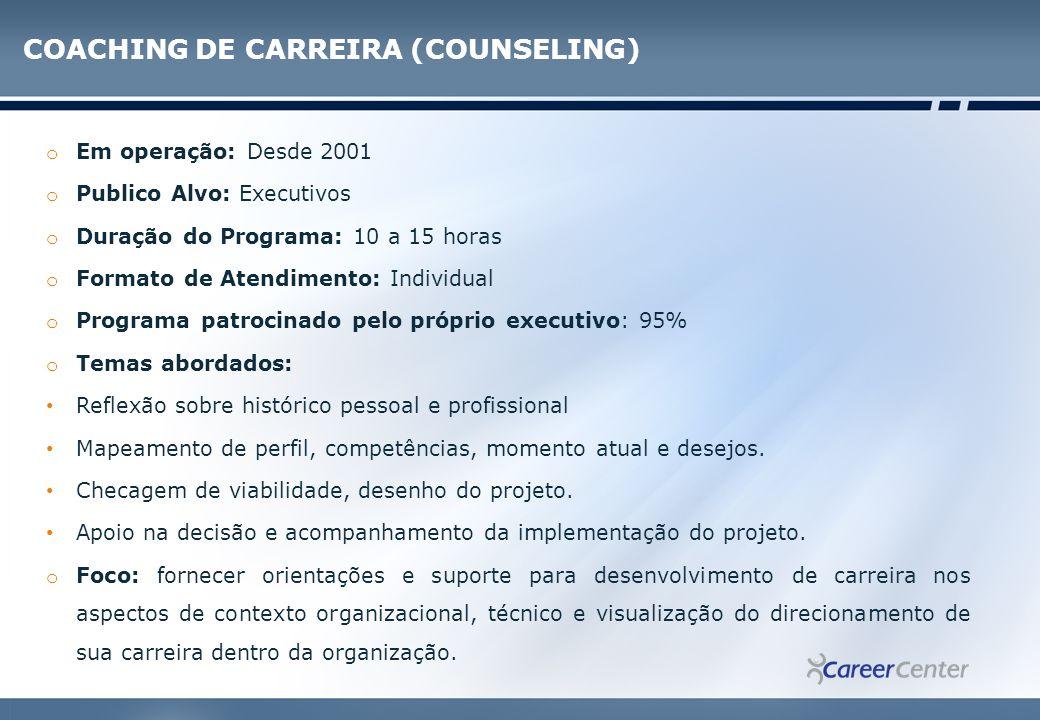 COACHING DE CARREIRA (COUNSELING)