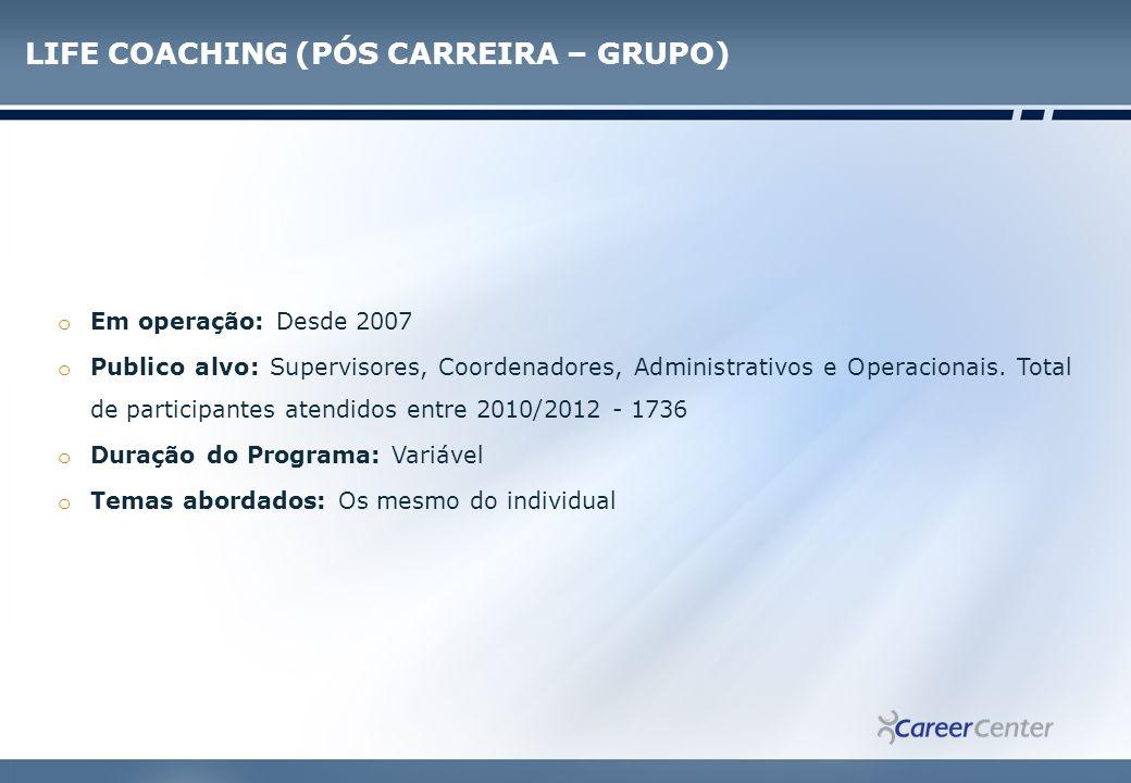 LIFE COACHING (PÓS CARREIRA – GRUPO)