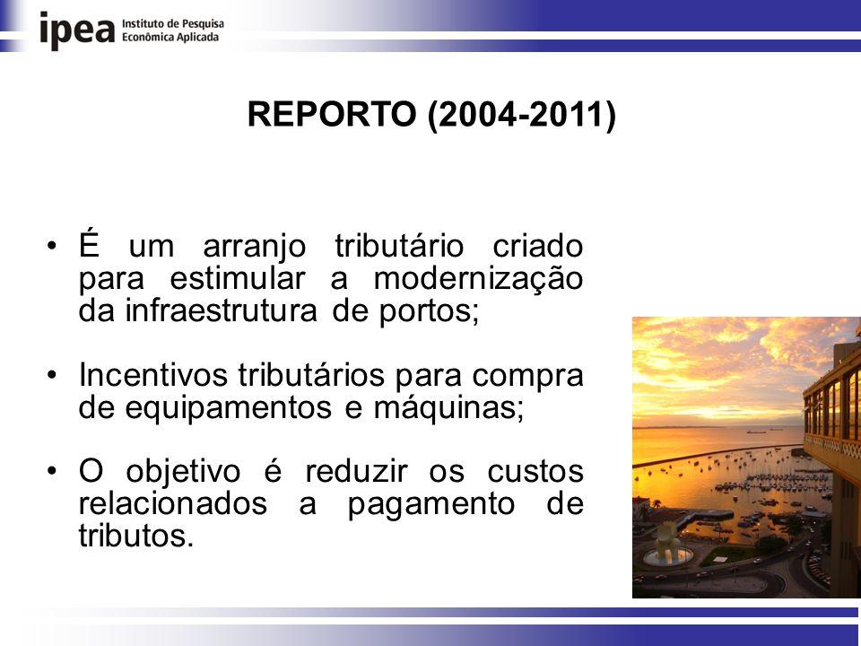 REPORTO (2004-2011) É um arranjo tributário criado para estimular a modernização da infraestrutura de portos;